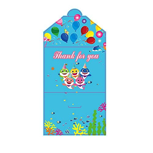 Casecover 10Pcs Cartoon-Haifisch Isposable Geschirr-Einladungs-Karten-Geburtstags-Party-Babyparty-Mädchen-Junge-Thema-Geburtstags-Party Supplies