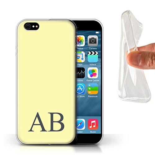 Personalisiert Pastell Monogramm Gel/TPU Hülle für Apple iPhone 6S / Türkis Design / Initiale/Name/Text Schutzhülle/Case/Etui Gelbes