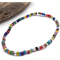 Multi-Colour Glass Seed Bead Anklet on Elastic - Colourful Handmade Design - 10 inches