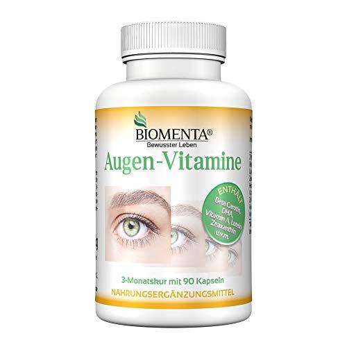 BIOMENTA AUGEN-VITAMINE | AKTION!!! | Beta Carotin + Lutein + Zeaxanthin + DHA (Omega-3) + Vitamin A + Vitamin B2 + Vitamin C + Zink | 3 Monatskur | 90 Augenkapseln