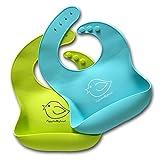 Wasserdichtes Lätzchen aus Silikon mit einfacher Reinigung! Bequeme, weiche Baby-Lätzchen, die Flecken fernhalten! Investieren Sie nach dem Essen mit Säuglingen und Kleinkindern weniger Zeit mit Saubermachen! Satz aus 2 Farben (Lindgrün/Türkis)