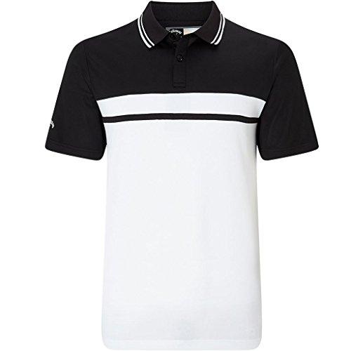 Callaway Golf 2018 Mens Opti-Dri Essential Colour Blocked Pique Golf Polo Shirt Caviar XL (Polo Herren Golf Pique)