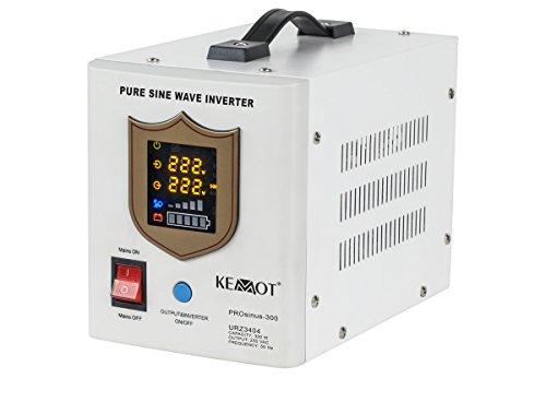 KEMOT urz3404, Alimentation d'urgence Convertisseur Pur Sinus Fonction de Charge, 12 V, 230 V, 500 VA/300 W Blanc