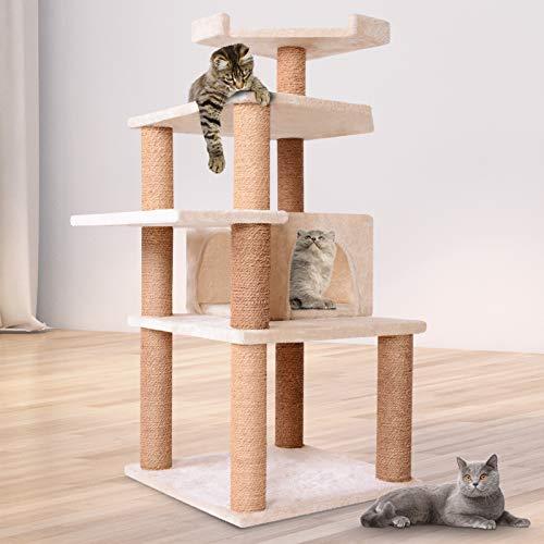 Leopet Kratzbaum zum Spielen, Schlafen und Relaxen | 113cm Hoch, eine Höhle und 3 Plattformen | Katzenkratzbäume, Katzenkratzbaum, Katzenbaum, Kletterbaum