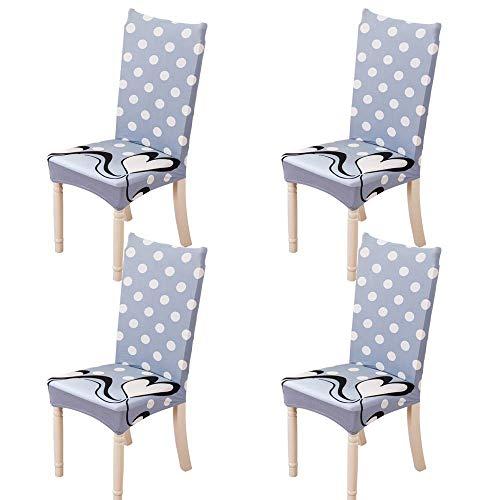 Lelestar coprisedie con schienale 4 pezzi elasticizzato,removibile coprisedie sala da pranzo coperture decorative per casa, cucina, hotel e festa,stampa floreale (c)