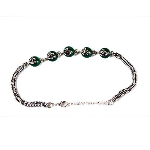 HOQTUM Frauen Armband S925 Retro Thai Silber Inlay Edelstein Jade Armband Weibliche Granat Persönlichkeit Mode (Kettenlänge 18-20 cm)