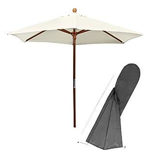 anndora Sonnenschirm Standard Holzschirm natur fast weiß 210 cm rund plus Schirmhülle