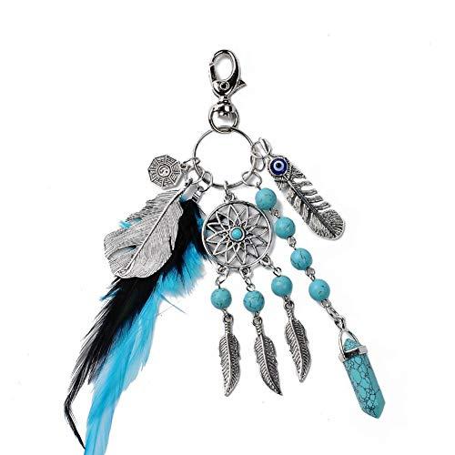 Preisvergleich Produktbild ICEBLUEOR Schlüsselanhänger mit natürlichem Türkis,  Traumfänger,  modisch,  Silber,  Boho Ornament Federblatt Schlüsselanhänger für Damen und Mädchen