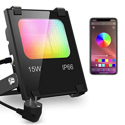 iLC RGBW Projecteur LED Exterieur 15W contrôlé par smartphone, Intelligente RGB Spot LED de Couleur, IP66 Etanche, 20 Modes 16 millions Couleurs, Puissant LED Projecteur Multicolore