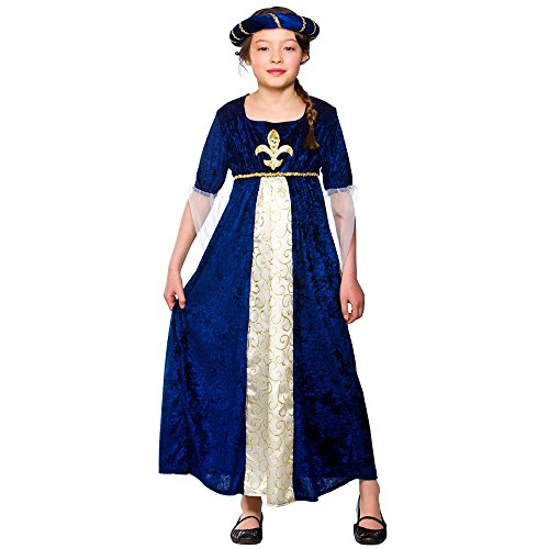 Girls Regal Princess Costume Fancy Dress Up Party Halloween Medieval Kids (11-13)