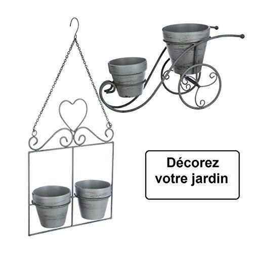 2 in 1: 1 fioriera a forma di bicicletta + 1 fioriera da appendere - stile ferro battuto - colore: grigio patinato di bianco