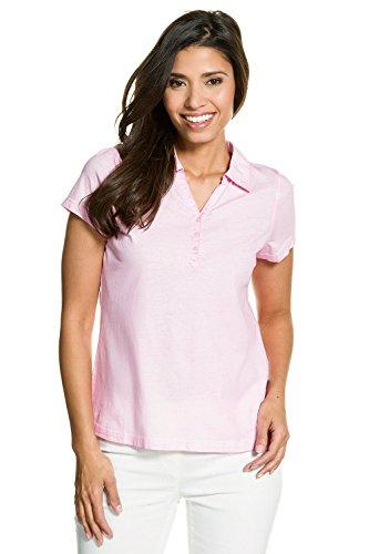 GINA_LAURA Damen   bis Größe 3XL   Polo-Shirt mit Knopfleiste & Web-Kragen   Kurzarm   Basic Polohemd   tailliert Slim Fit   in mehreren Farben aus Baumwolle   711045 Rosenquarz