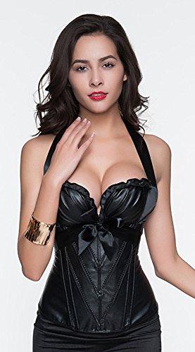 r-dessous sexy Damen Corsagentop schwarz Corsage Shirt Top Lack Korsett Bustier Corset Gothic Dessous Groesse: 6XL - 4