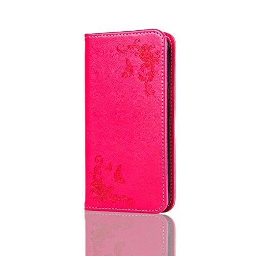 Nancen Compatible with Handyhülle Galaxy J3 J310 / J3 (2016) J320 (5,0 Zoll) Handyhülle, Luxus Rot Prägung Schmetterling und Blume Muster Flip Case PU Leder Tasche Ledertasche Etui