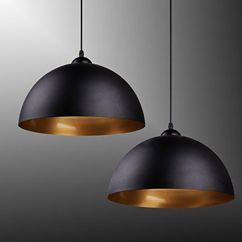 BAYTTER® Design 2x klassische retro LED Hängelampe Pendelleuchte, halbkugelförmig Φ 30cm
