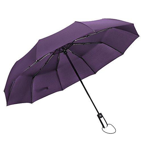 Automatischer Reise-Regenschirm, Kompakter Windundurchlässiger Golf-Regenschirm-Selbstöffnungs-Abschluss, Leichte 10 Rippen Tragbarer Und Dauerhafter Faltender Regenschirm Für Frauen-Männer Erwachsene Kinder,Purple