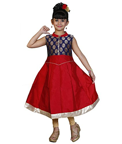 JBN Creation Girls Red Cotton Silk Anarkali Gown Suit (Size: 2-3 Years)