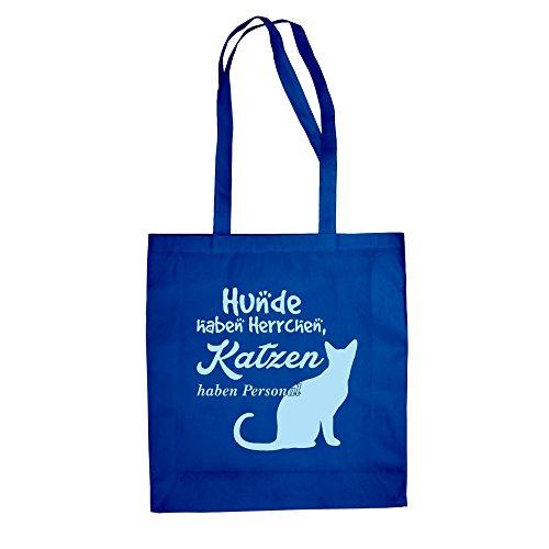 Baumwolltasche Jutebeutel -- Hunde haben Herrchen, Katzen haben Personal royalblau-himmelblau