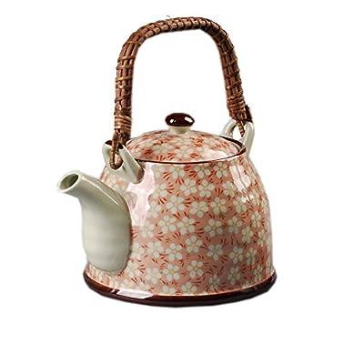 Style japonais théière en porcelaine, Plum Blossom 30 OZ, Orange