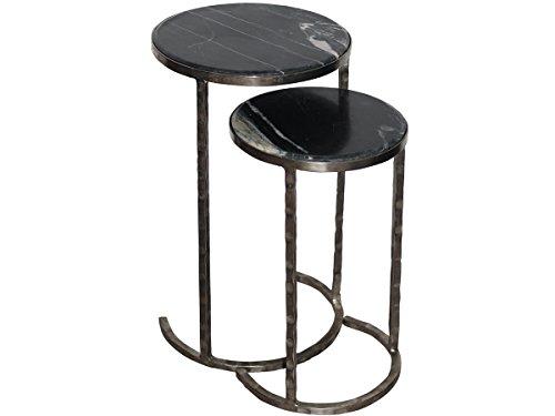 Beistelltisch Nachttisch Couchtisch Sofatisch Lampentisch Steinplatte Metallgestell Granit Marmor schwarz ()