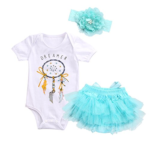 Kinderkleid Honestyi Neugeborenes Baby Girl Dreamcatcher Strampler + Tutu Rock Tüll Outfits Kleidung 3pcs Set (Weiß,70) (Piraten-kostüm Baby Girl)