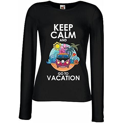 N4442M Mangas largas Camiseta de la hembra Keep Calm and Go to Vacation