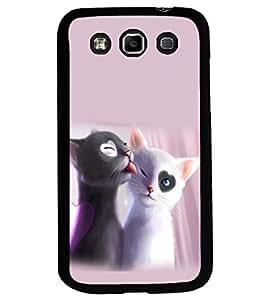 printtech Heart Eyes Cats Couple Love Back Case Cover for Samsung Galaxy Quattro i8552::Samsung Galaxy Quattro Win i8552