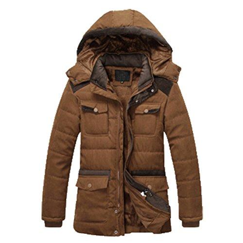 OHmais homme parka manteau d'hiver veste à capuche fourré Café