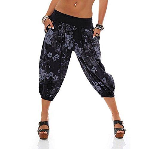 VRTUR Damen Yogahose Pumphose in Unifarben | lässige Kurze Hose | Bermuda für den Strand | Haremshose Sommer 3/4 Yogahose Aladinhose Pluderhose Stoffhose(Medium,Schwarz) -