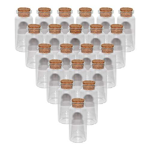 Glasfläschchen mit Korken (36 Stück) - 20ml kleine Glasflaschen im Antik Stil - Fläschchen mit Korken für Öl, Parfüm - Hochzeit Deko, kleine Fläschchen, Reagenzglas, Schmuckherstellung, DIY, Basteln -