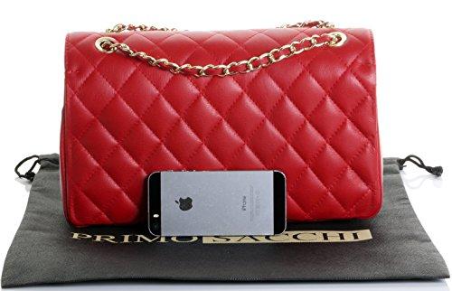 Borsa di cuoio italiano Design classico diamante forma borsa tracolla imbottita, con catena in metallo e cuoio, maniglie / tracolla include una custodia protettiva marca Rosso