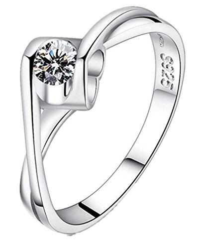Lieberpaar Damen Diamant-Ring Herz Inlay Zirkon 925 Sterling Silber Ringe verstellbare goessee Kristall-Silber Hochzeit Schmuck