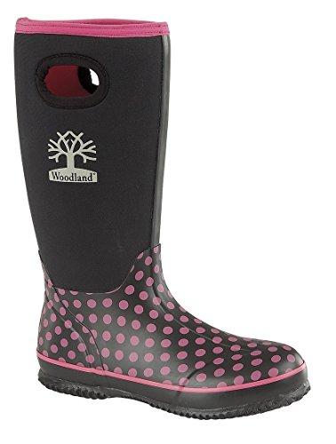 Woodland Polka Dot Warm Neoprene Womens Winter Wellies Black Wellington Boots