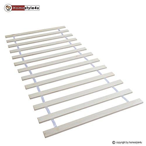 Rost-rahmen (Homestyle4u 1806_LR Rollrost Lattenrost Rollrahmen B x H 90 x 200 cm 13 Leisten Latten unverstellbar für alle Matratzen und Kinderbetten geeignet)