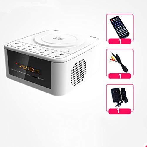 FAY Tragbarer CD-Player, Bluetooth-Audio-FM-Radio, TF-Karte und MP3-Repeater-CD, LED-Anzeige für AUX-Eingang, Unterstützung für MP3 / WMA/AV,White