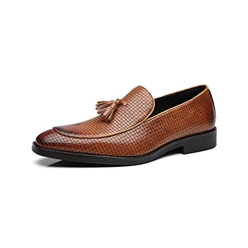 HILOTU Handgefertigte Slipper Für Herren Ledergefütterte Slip-On Wingtip Quaste Loafer Perforierte Kleid Schuhe (Color : Gelb, Size : 48 EU)