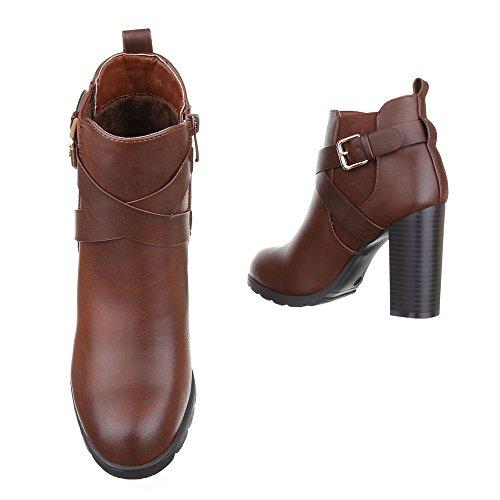 High Heel Stiefeletten Damen Schuhe Schlupfstiefel Pump Leicht Gefüttert Reißverschluss Ital-Design Stiefeletten Braun