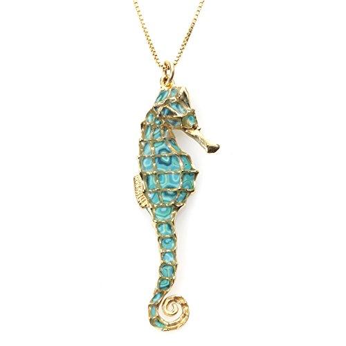 Parure Collier et Boucles d'Oreille Hippocampe - Bijoux Fait Main en Argent fin Plaqué Or et Fimo, chaine en Or Laminé 42cm Turquoise