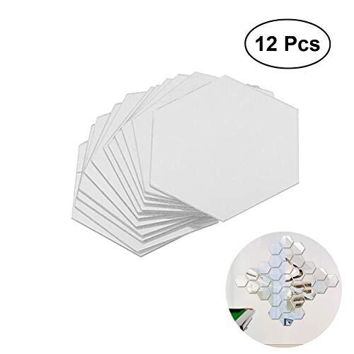 WINOMO mural de espejo acrílicas 3D efecto hexagonal para decorar la pared 8 x 8cm 12 piezas Plata...