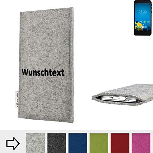 flat.design für Vestel 5000 Handytasche Porto im Wunschtext Name (hellgrau-meliert) handgefertigte Smartphone-Tasche aus Filz für Vestel 5000 Handy Schutz Hülle Made in Germany
