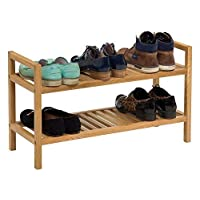 Hallowood Waverly Stackable Rack in Light Oak Finish Fits 4 Pairs of Shoes | Narrow Solid Wooden Organiser/Stand | 500mm | 2 Tier, ((WAV-SR500-2T)