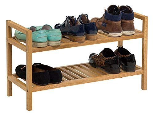 Waverly Oak Stackable Shoe Rack in Light Oak Fits 6 Pairs of Shoes | Wide Organiser Stand | 2 Tier by Waverly 2-tier-stand