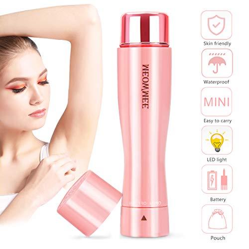 Gesichtshaarentferner für Frauen, MEOWMEE Elektrischer Rasierer Damen Wasserdichtes mit eingebautem LED-Licht-Batterie-Beutel Elektrischer fehlerloser schmerzloser Haar-Entferner-mini (Rosa) -