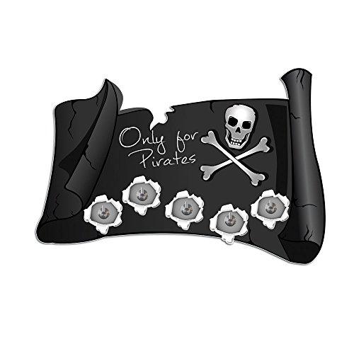 Adesivo da parete appendiabiti con 5ganci per bambini pirata (Pirata Mappa)