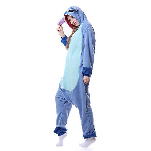 Einfache Stitch Kostüm - Winter Warm Flanell Unisex Einteiler/Pyjama für Erwachsene Stitch Pyjama,Blue New Stitch,L