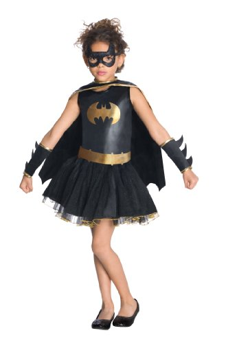 Let your little girl become Batgirl for the day with this super tutu dress with attached cape, glitter eyemask and gauntlets. Official Batgirl Cute Costumes in two sizes from 3 to 7 years