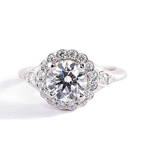 Verlobungsring 18 Karat Weißgold 1,20 Karat SI2 H Diamant Brillantschliff Flora GIA zertifiziert