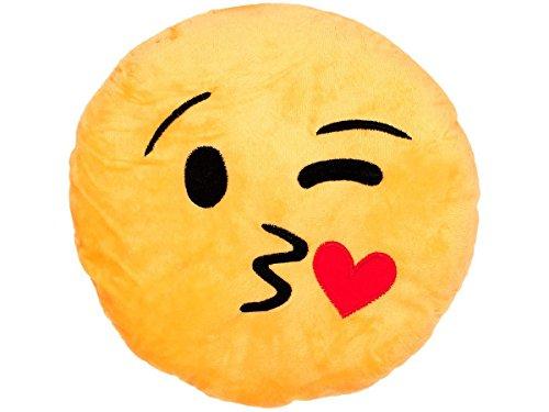 Alsino Emoji Kissen Emoticon Emojicon Lach Smiley Kissen Dekokissen Stuhlkissen Sitzkissen Gelb Rund, Variante Wählen:Kuss Ki-03