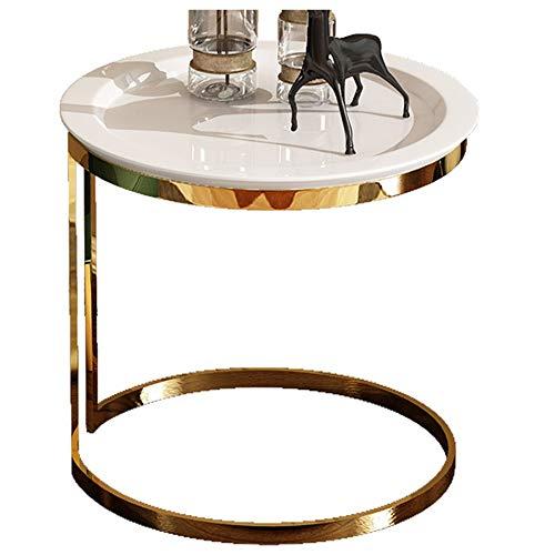 Salon Table Basse/côté canapé, Meubles créatifs de Maison Moderne en Bois, Rond, Blanc (50 × 50 × 55,5 cm)
