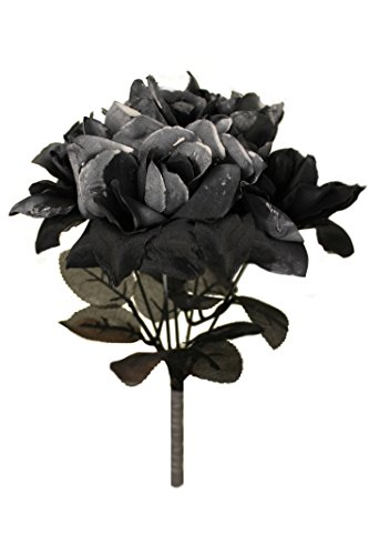 ILOVEFANCYDRESS BLACK ROSE BOUQUET FANCY DRESS ACCESSORY - GOTHIC BLACK FLOWER ROSE BOUQUET FAKE FLOWERS - PERFECT FOR GHOST BRIDE FANCY DRESS HALLOWEEN COSTUMES